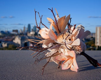 Sola Flower Lily, Sea Fan, Shell Bridal Bouquet in Peachy Pink
