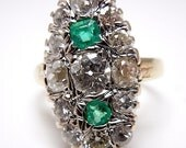 Deco Platinum and Gold, Diamond and Emerald Ring