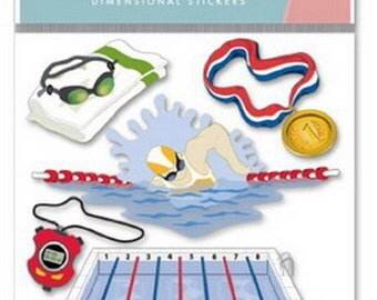 New - Scrapbooking Dimensional Embellishment Stickers by  Jolees Boutique Swim Team