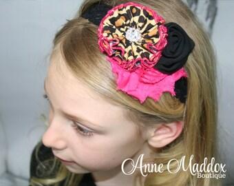 Leopard and Pink Headband, Leopard Headband, Infant Leopard Headband, Girls Headband