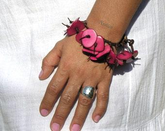 Fringe leather Fuchsia Natural Tagua Bracelet.