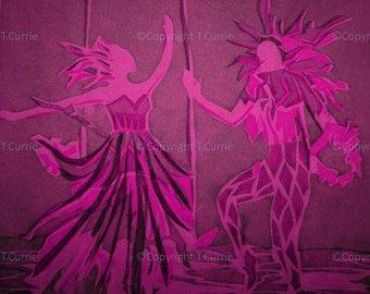 Dancing Harlequin   -   Giclee Print  of Vintage Silk Screen Print