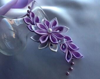 Hair Clip - Lavender Purple Light Purple White Kanzashi Flower with Pearls Hair Flowers Wedding Flowers