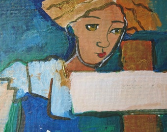 Memory at the Cross original figurative painting aceo