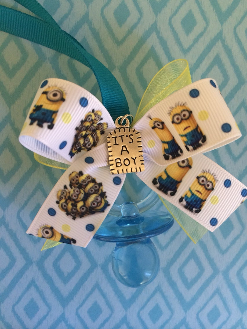 minion baby shower pacifier necklaces by marcenaripartydecor