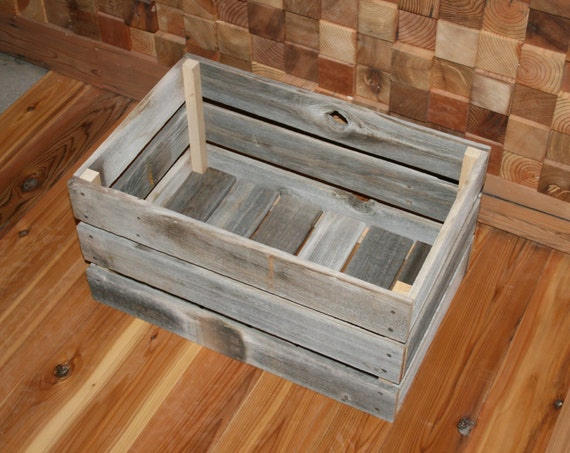 Barn wood milk crate large by lunarcanyon on etsy for Where can i buy wooden milk crates