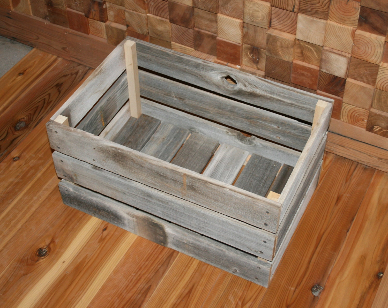 barn wood milk crate large by lunarcanyon on etsy. Black Bedroom Furniture Sets. Home Design Ideas