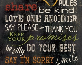 MA612 - Our Family Rules / Slate background