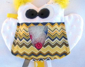 SALE yellow and white OWL I Spy bag, plush and cuddly