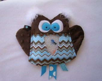 SALE blue & brown OWL I Spy bag, plush and cuddly
