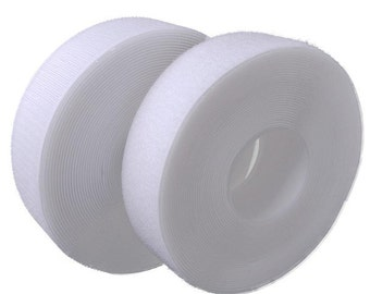 White 1 Inch Velcro Hook and Loop Sew On  22-HT100W By The Yard