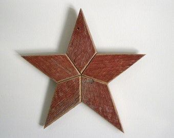 Red Wooden Star Wall Decoration Hanging made from Reclaimed Barn Wood
