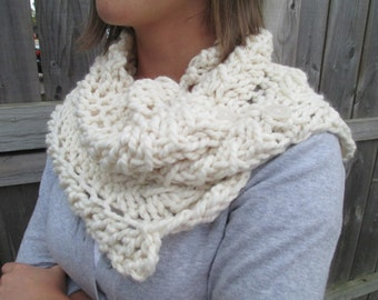 White Chunky Cowl Scarf with Buttons
