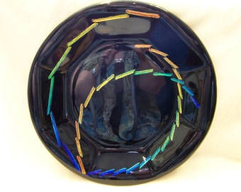 "9.25"" Octagon Black Plate with Dichroic Swirl"