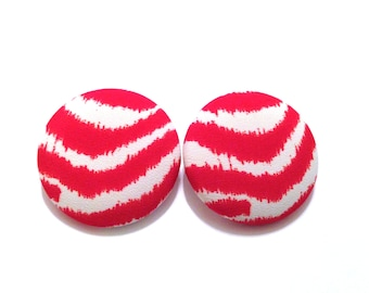 Red & White Zebra Fabric Covered Button Earring