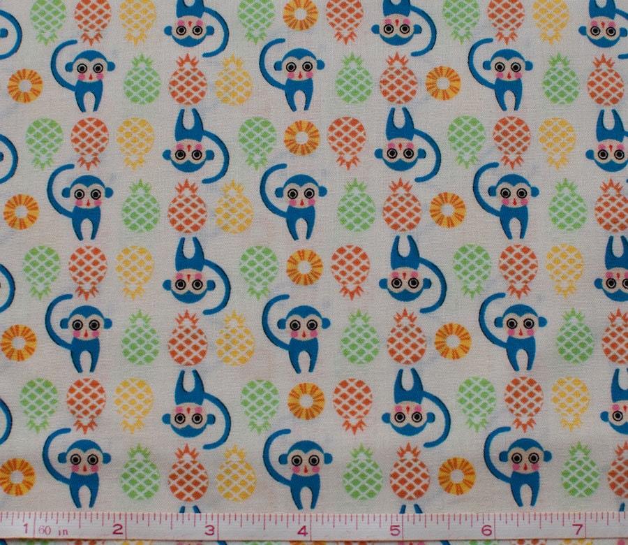 Monkey tiny print fabric kawaii japanese fabric animal for Kids print fabric