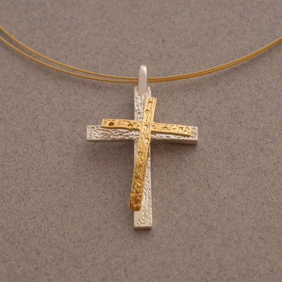 womens cross necklace hammered sterling silver cross
