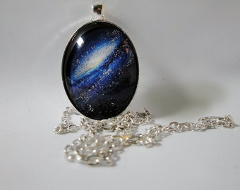 Sparkle Andromeda Galaxy Astronomy Jewlery Blue Silver Pendant Charm Necklace 22x30mm
