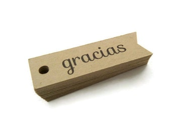 75 Gracias Tags - Thank You Tag - Hang Tag - 2 x 0.6 inch - Kraft Tag - Flag Tag - Banner Tag - Wedding Favor Tags - Jewelry Tags TY57