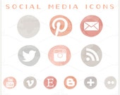 Coral & Grey Ombre - PNG Files -  Social Media Icon
