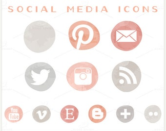 Coral & Grey Ombre - PNG Files -  Social Media Icon