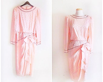 Be My Baby // Vintage 80s Dress // 1980s Silk Baby Pink and Rhinestone A. j. Bari for Neiman Marcus