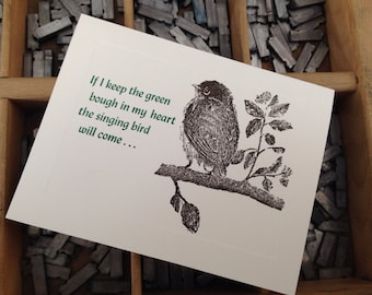 """Letterpress Note Cards """"Green Bough"""" - Set of 10 cards with matching envelopes"""