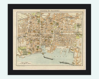 Old Map of Palermo Italy Italia 1930