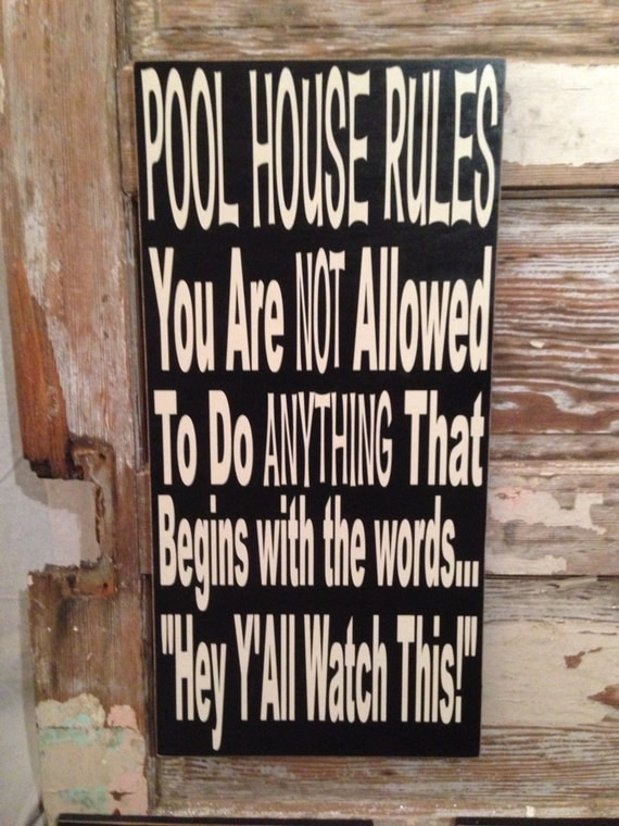 Pool House Rules Sign 12 X 24 Wood Sign Funny By