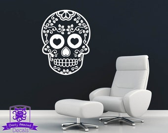 Heart Eyed Day of the Dead Skull Wall Decal Decor