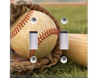 Baseball Double Light Switch Cover
