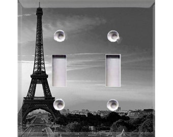 Eiffel Tower - Black and White Double Light Switch Cover
