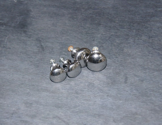 Round Chrome Cabinet Knobs Retro Shabby Chic Cottage Old Fashioned