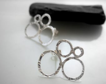 Silver hoop stud earrings, handmade sterling silver stud hoop design earrings, made using traditional silversmith techniques in the UK