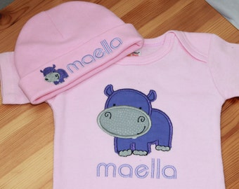 Personalized Baby Hippo Shirt - Hippo Shirt - Baby Hippo Outfit - Baby Girl Clothes - Bodysuit and Cap - Baby Cap - Baby Boy Clothes