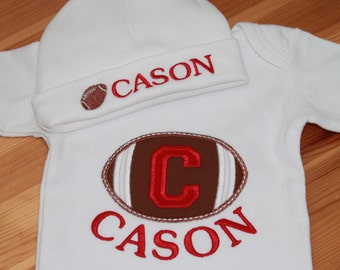 Personalized Applique Baby Onepiece Bodysuit and Cap - Football with Red