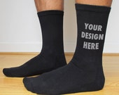 Men's Large Custom Printed Personalized Socks  - Crew Length Socks Available in White, Black and Assorted Colors, 2 Styles to Choose From
