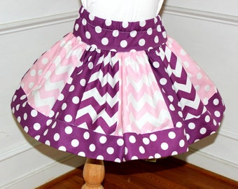 chevron skirt chevron polka dot  skirt pink and purple skirt polka dot skirt Easter skirt girl chevron skirt birthday skirt girl skirt