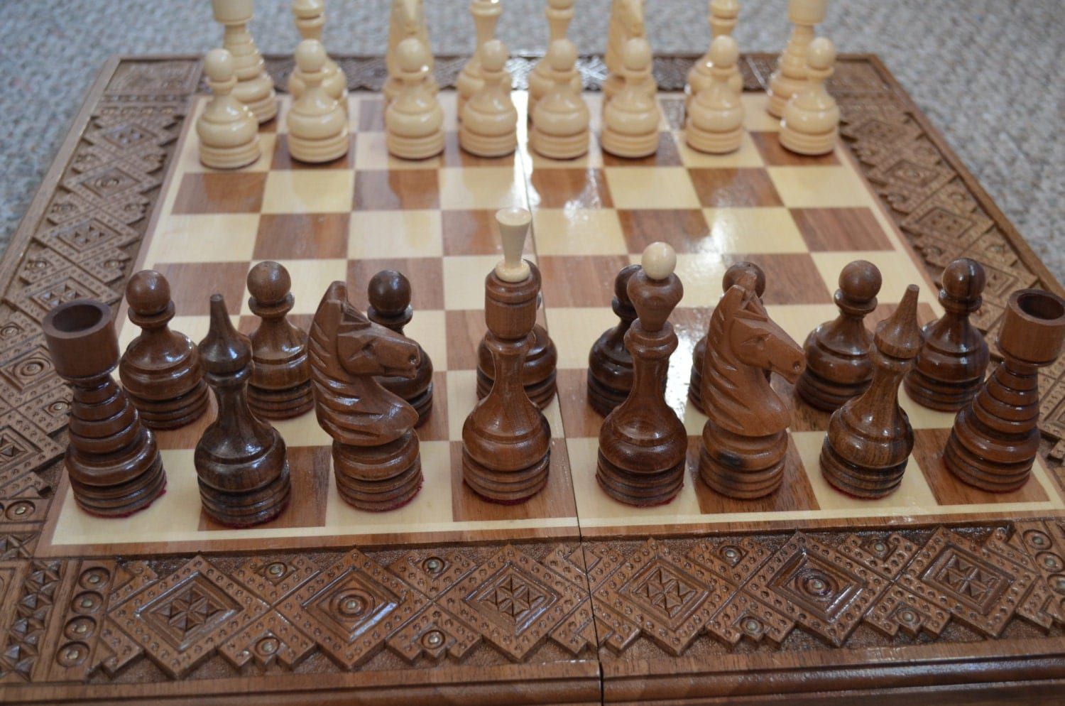 Chess wooden chessnatural chessset chess table by naturalwooden - Wooden chess tables ...