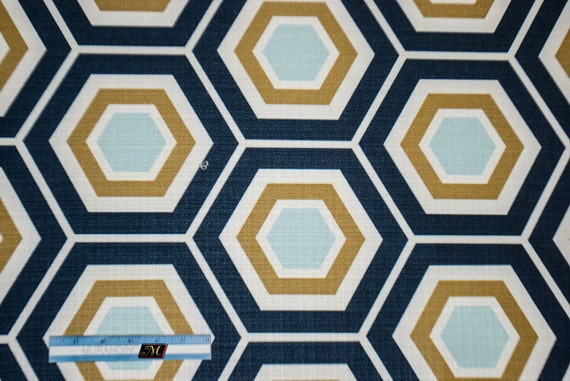 Items similar to Hexagon Geometric Fabric Ocean