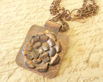 OOAK Copper Pendant Riveted Handmade Flower