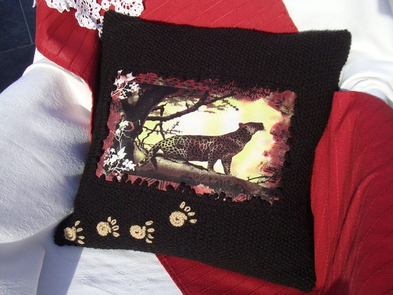 Black knit pillow Leopard knit pillows animal decor couch