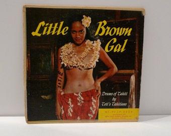 Tiki Vinyl Vixen Record Album Cover Little Brown Gal Exotica Hawaiian Music Drums Totis Tahitians Topless Hula Girl Lei Luau Party Erotic