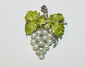 Gorgeous Sterling Grape Cluster Brooch with Enameled Leaves and Faux Pearls