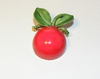 Original by Robert -- Bright Red Enameled Apple Pin