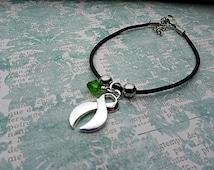 Green Ribbon Bracelet, Organ Transplant, Organ Donation, Gastroparesis, Traumatic Brain Injury,Celiac Disease,Lyme Disease, Bipolar disorder