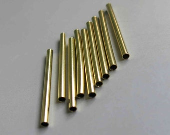 100pcs Cut Raw Brass Tube Cylinder Shape Beads 40mm x 3mm - F155