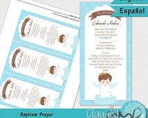 Baptism Angel Boy Printable Prayer / Card / Bookmark - 300 DPI / Oración / Recuerdo Bautizo Niño