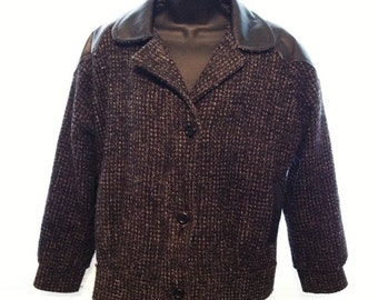 Vintage Jacket 1980s Leather Tweed Wool Ladies Juniors Size 7 Glam Rock n Roll Blazer Coat Retro 80s Old School Classic