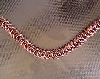 Copper and Polished Silver Aluminum Inca Puno Chainmaille Bracelet